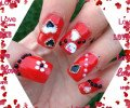 Nail Art rouge et blanc girly